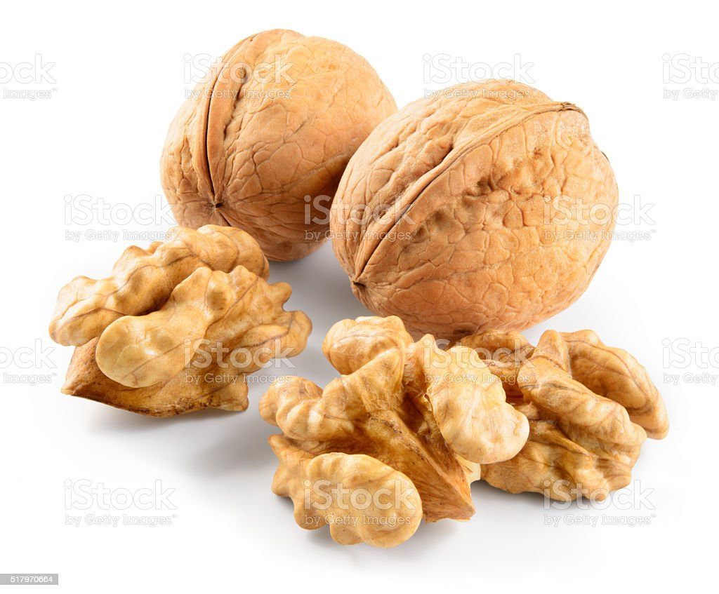 Walnut isolated on white background stock photo