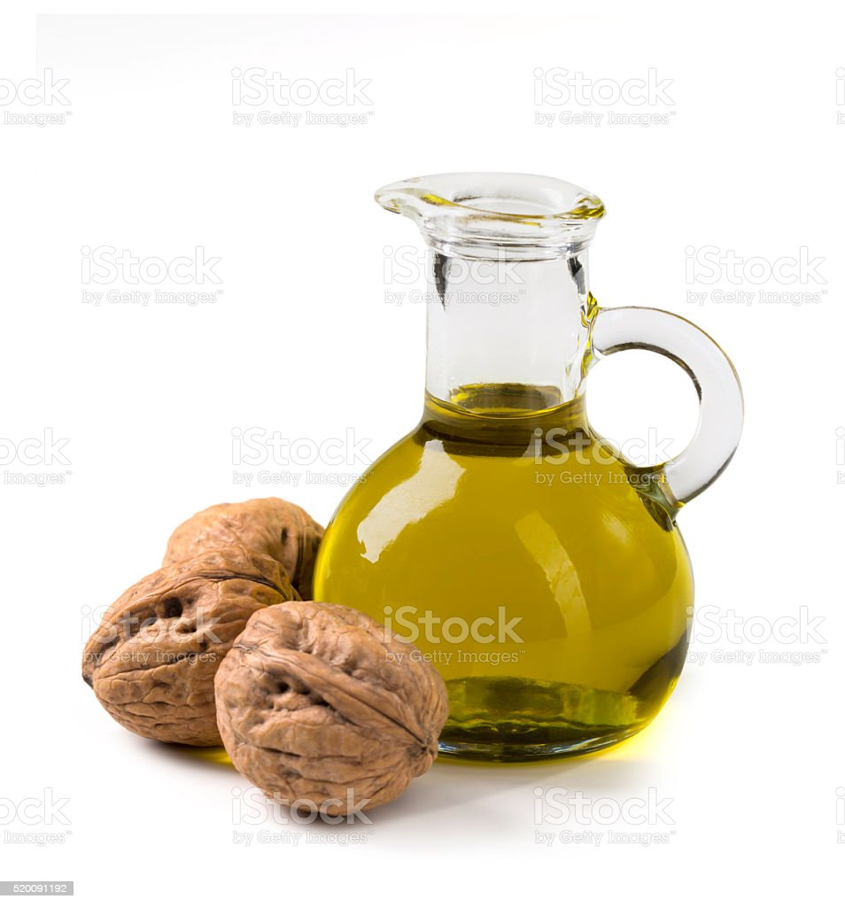 Walnut oil and nuts stock photo