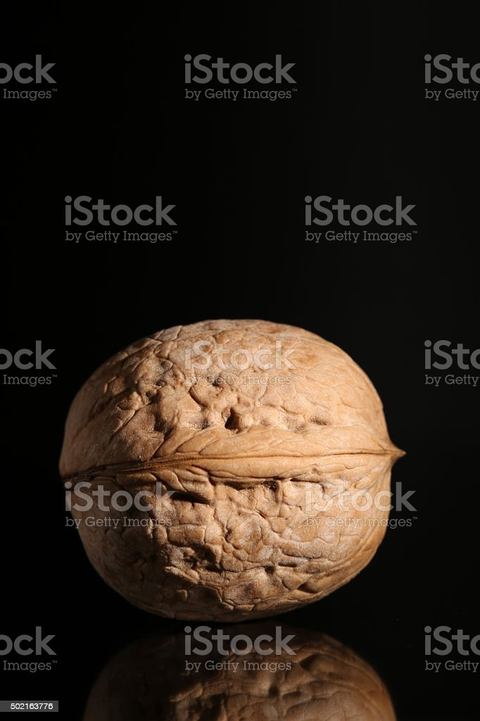 Walnut over black background with reflection stock photo