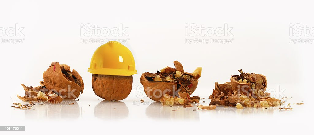 Walnut Wearing Hard Hat Beside Other Crushed Nuts stock photo