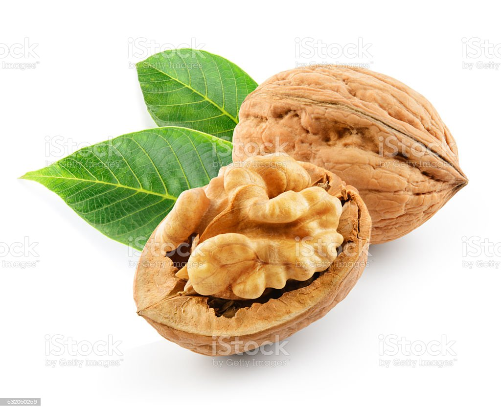 Walnut with leaves isolated on the white background. With clipping path. stock photo