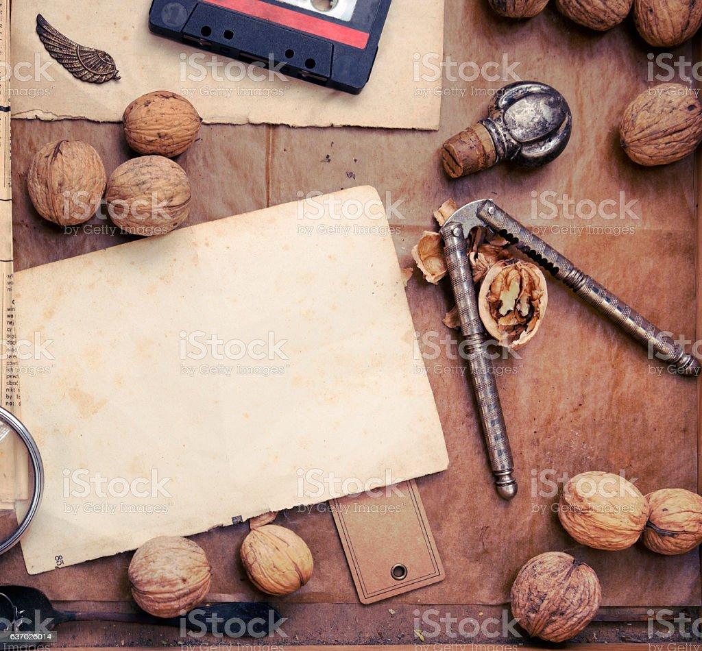 Walnut with nutcracker stock photo