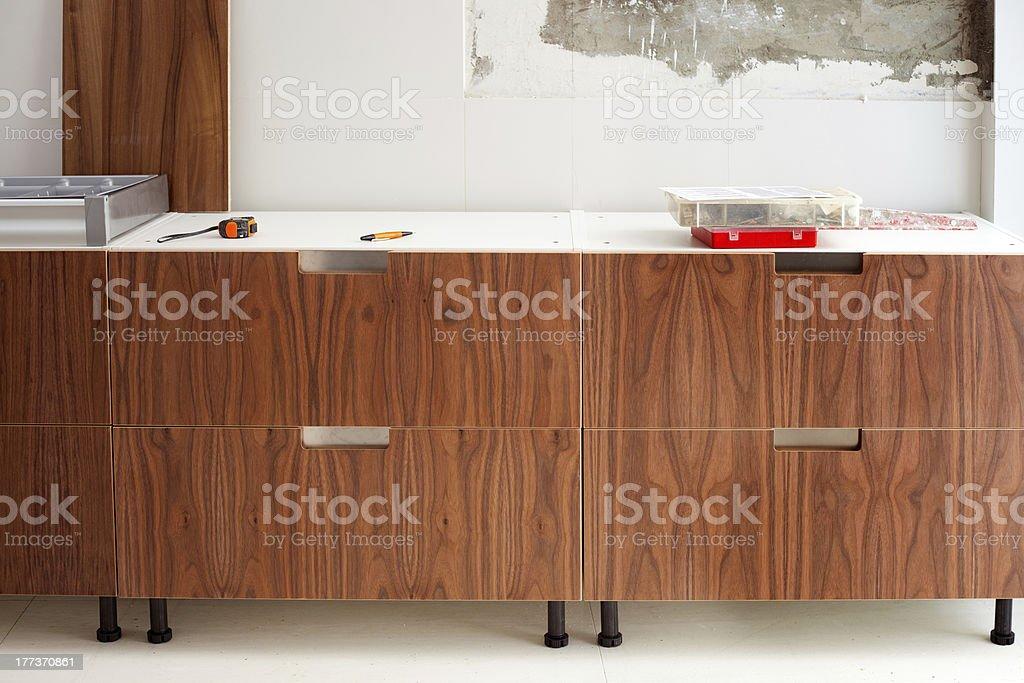 walnut wood kitchen construcion modern design royalty-free stock photo