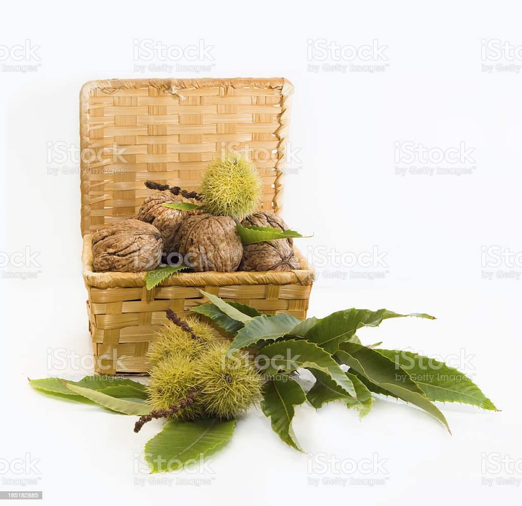walnuts  and chestnuts  in a wicker basket royalty-free stock photo