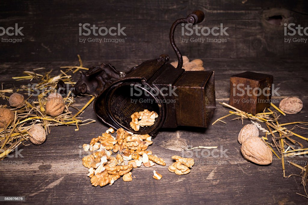Walnuts and hand walnuts grinder stock photo