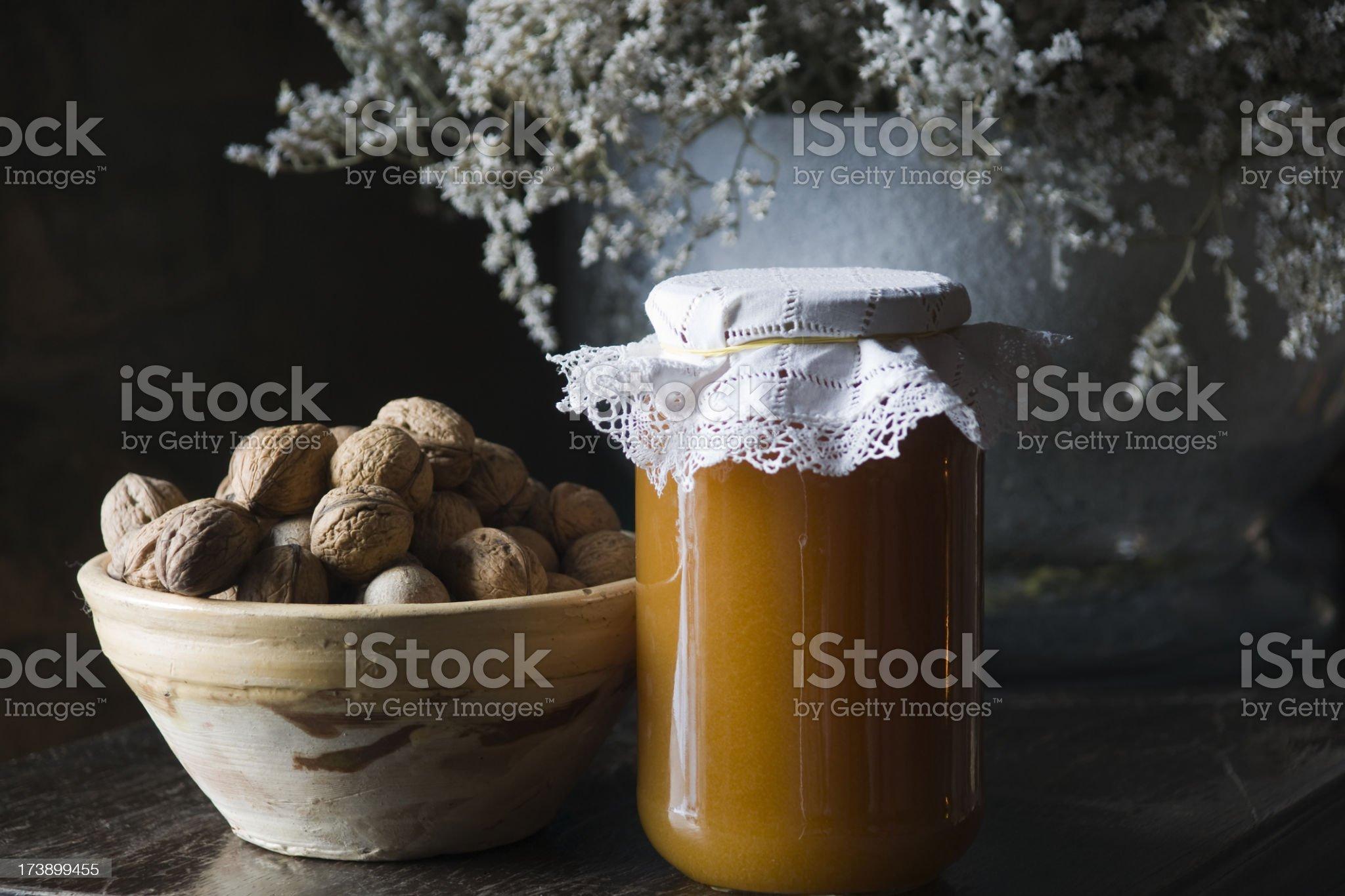 walnuts and honey royalty-free stock photo