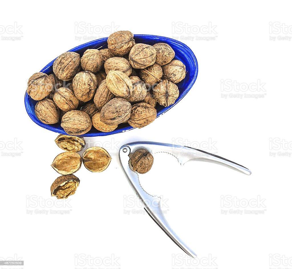 Walnuts and nutcracker royalty-free stock photo