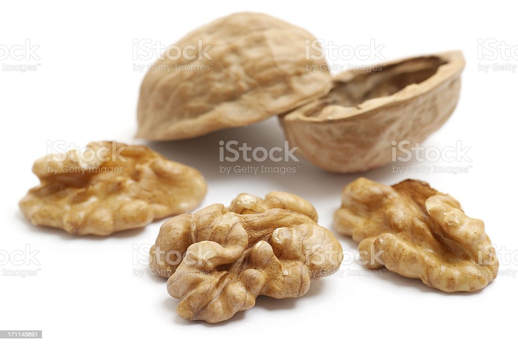 walnuts and shell royalty-free stock photo