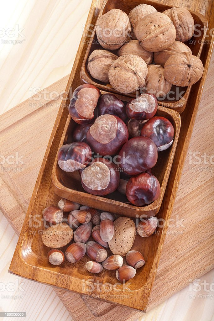 walnuts, chestnuts, hazelnuts and almonds royalty-free stock photo