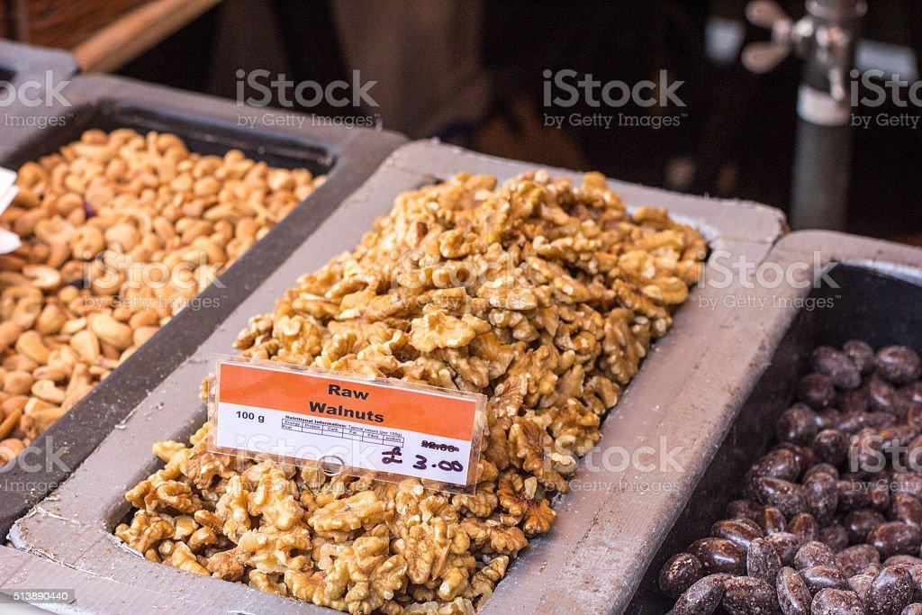 Walnuts in Borough Market, London stock photo