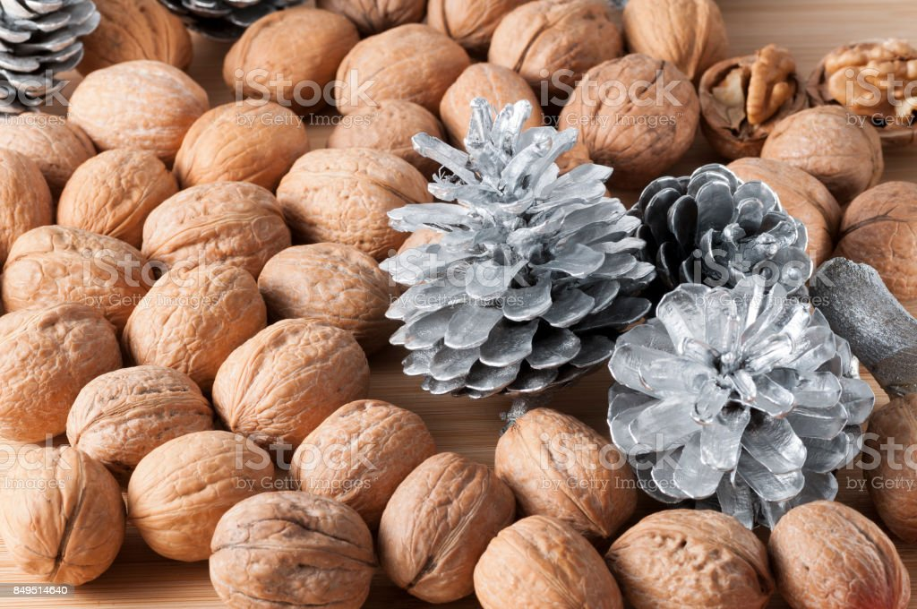 walnuts in the foreground for diet stock photo