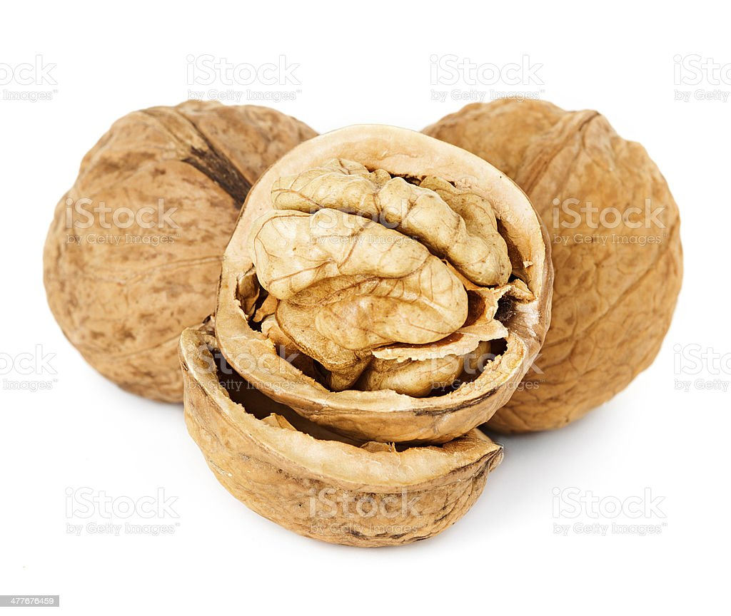 walnuts isolated on the white background royalty-free stock photo