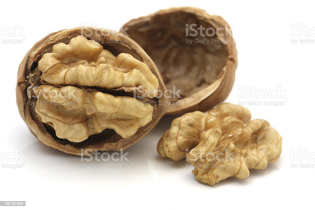 Walnuts Isolated on White Background stock photo