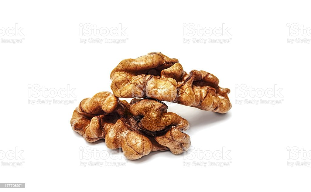 Walnuts isolated on white royalty-free stock photo