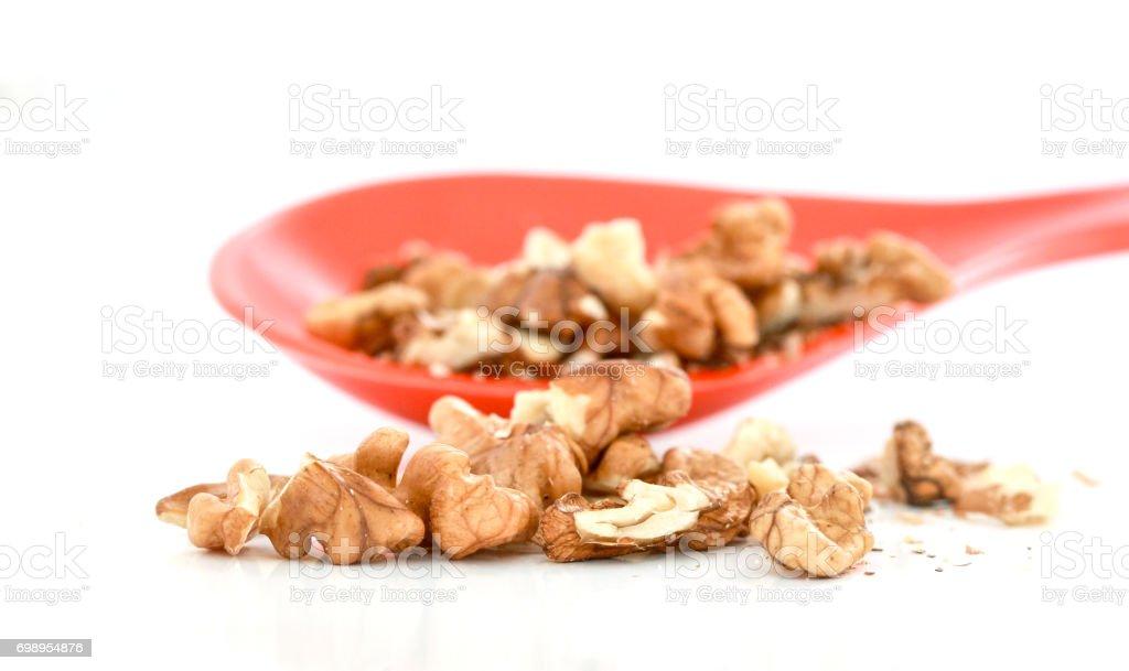 Walnuts on white background stock photo