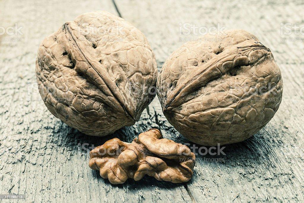 Walnuts on wood royalty-free stock photo