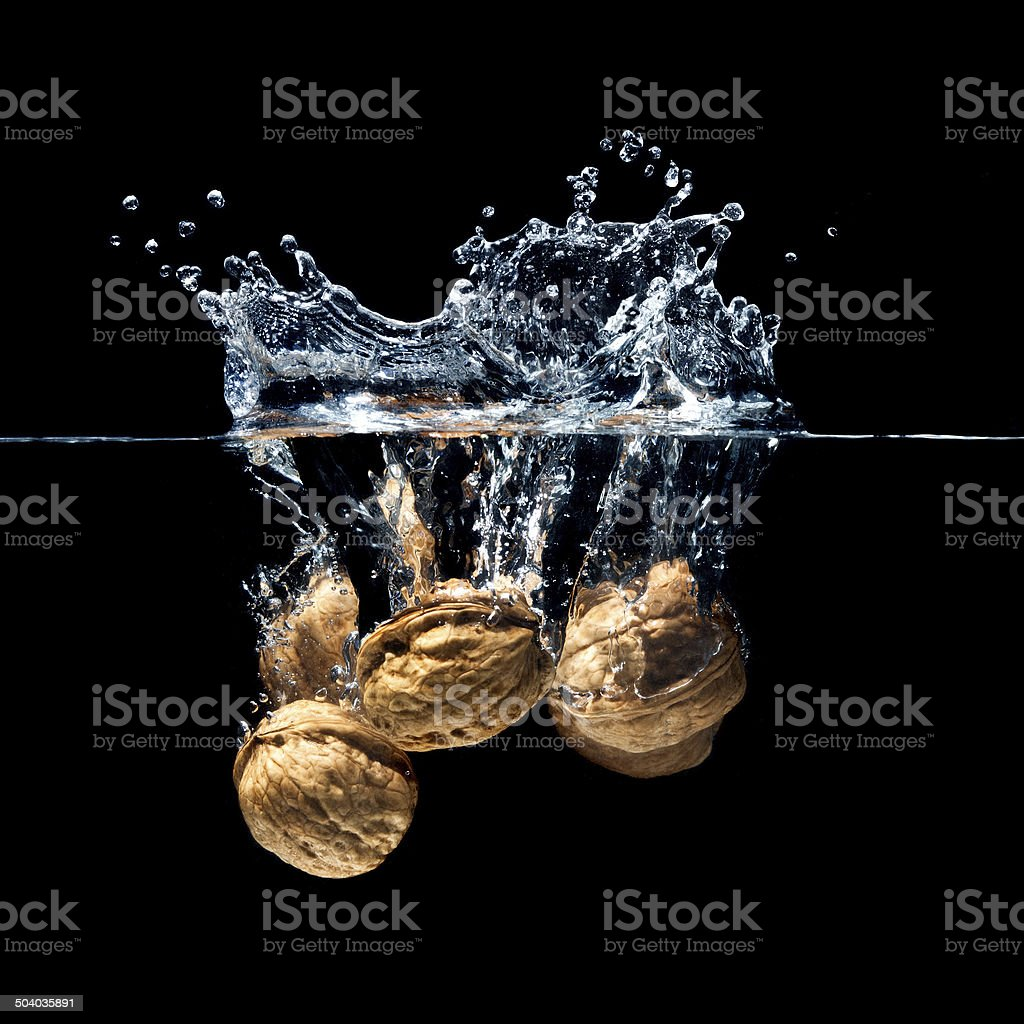 walnuts splash stock photo