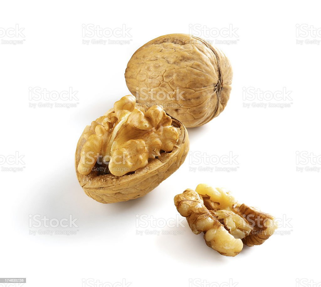 Walnuts three with Shell royalty-free stock photo