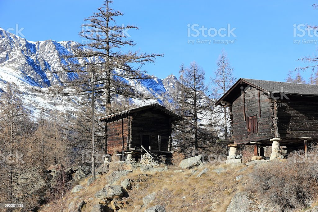 Walser style house in Saas-Almagell. The Alps, Switzerland. stock photo