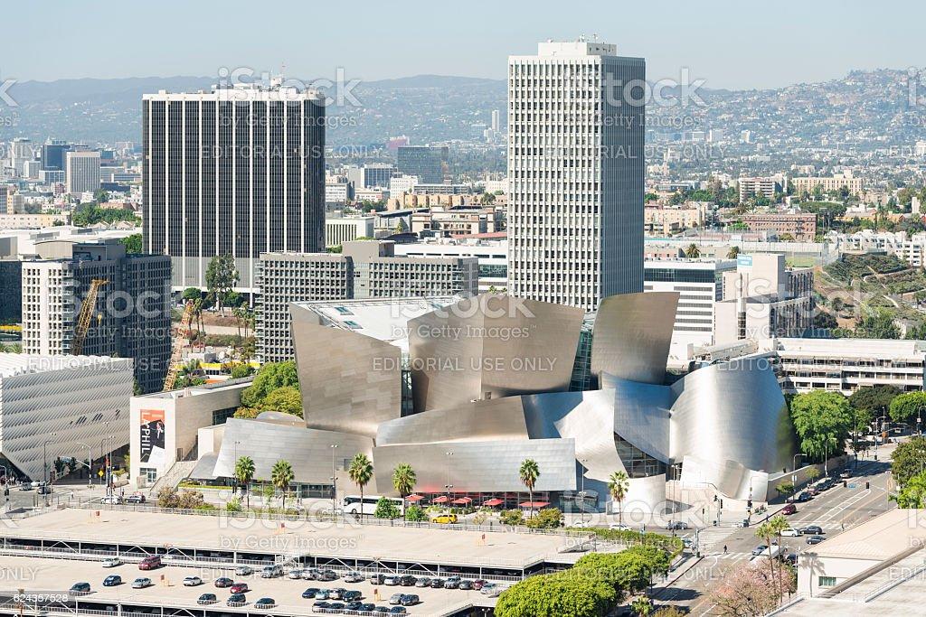 Walt Disney Concert Hall aerial view stock photo