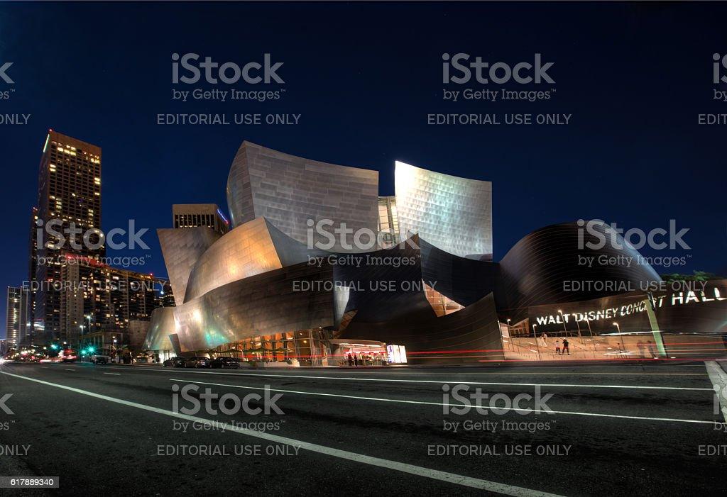 Walt Disney Concert Hall at night stock photo