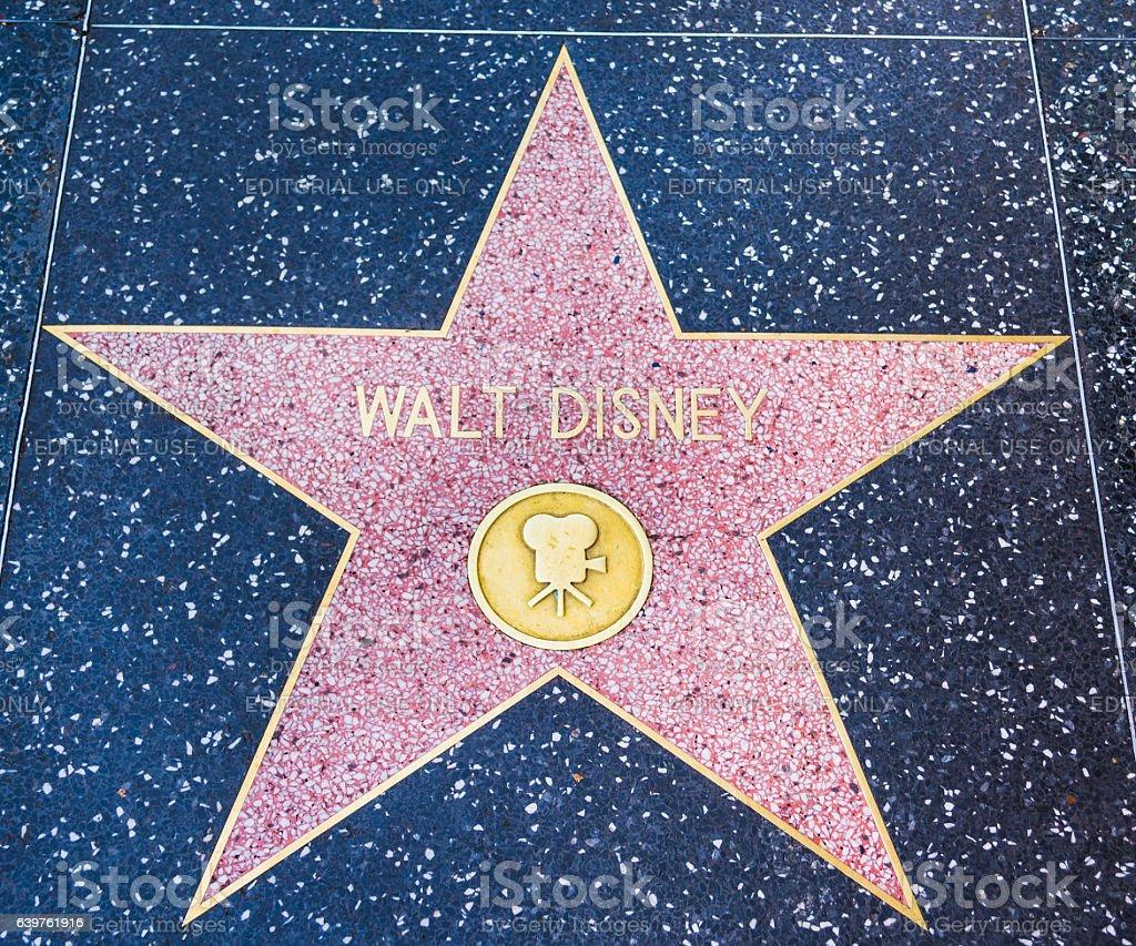 Walt Disney star in Hollywood walk of fame stock photo