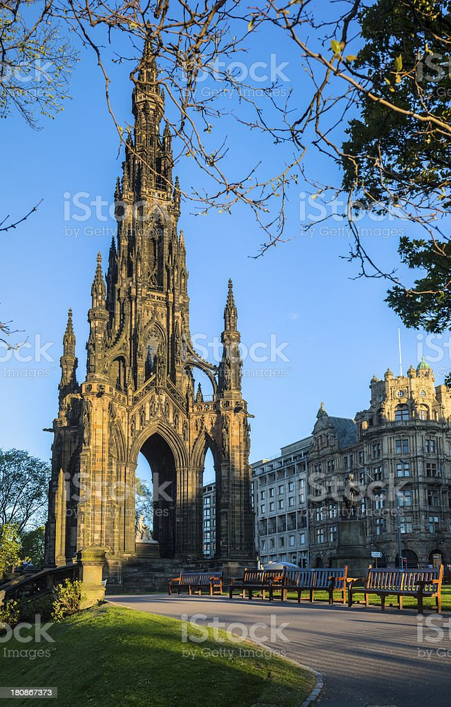 Walter C Scott Monument at Dawn with Brilliant Blue Sky stock photo
