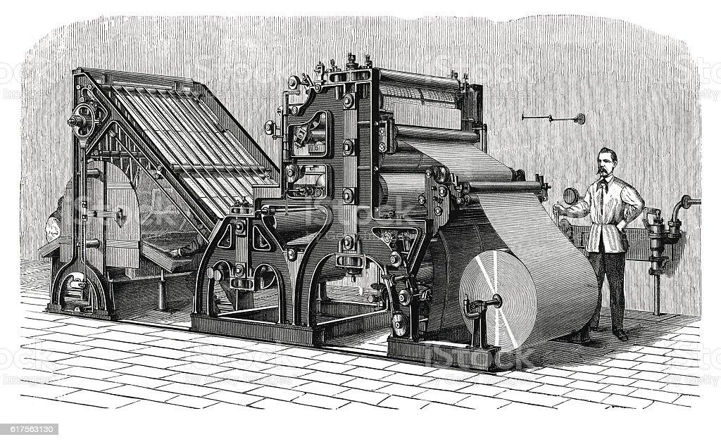 Walter printing press (antique engraving) stock photo