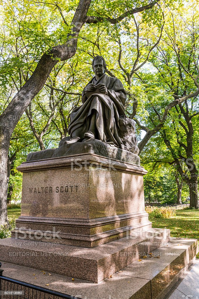 Walter Scott monument, Central Park, New York stock photo