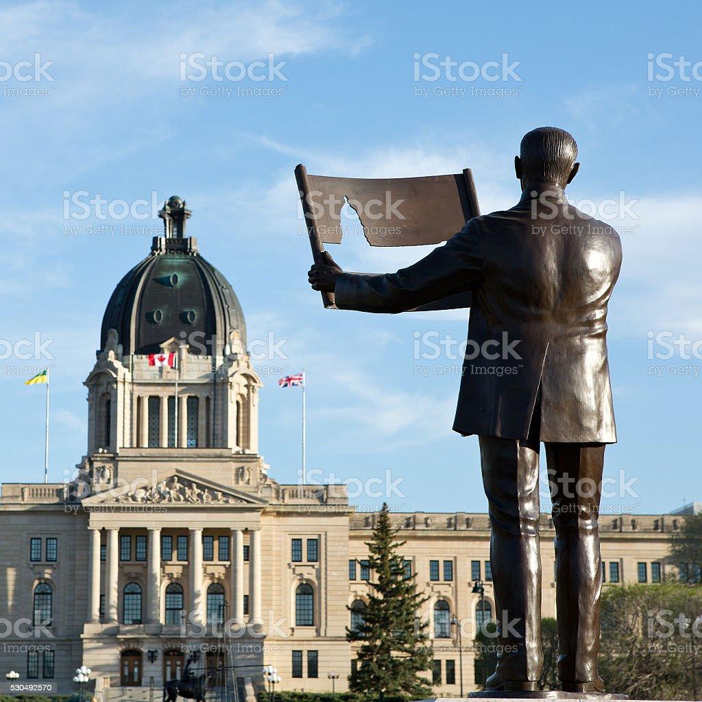 Walter Scott statue and Saskatchewan Legislative Building in Regina stock photo