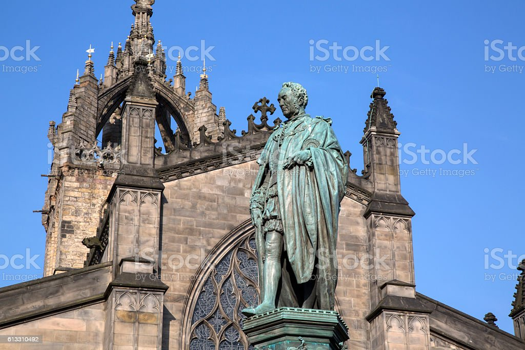 Walter Scott Statue by Bohem, Royal Mile; Lawnmarket; Edinburgh; stock photo