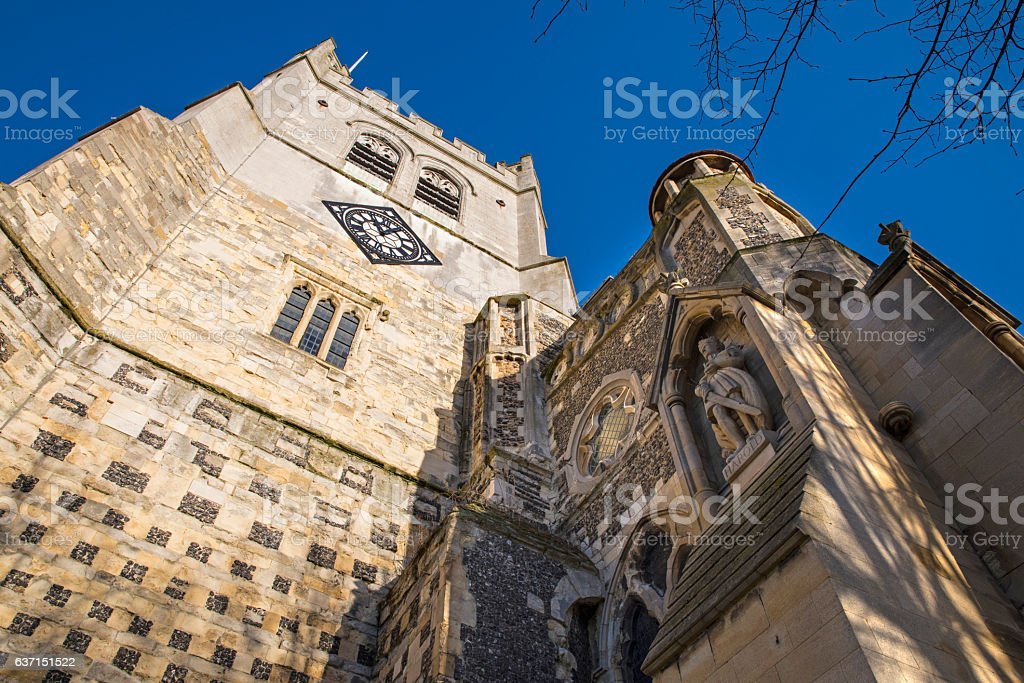 Waltham Abbey Church and King Harold Statue stock photo