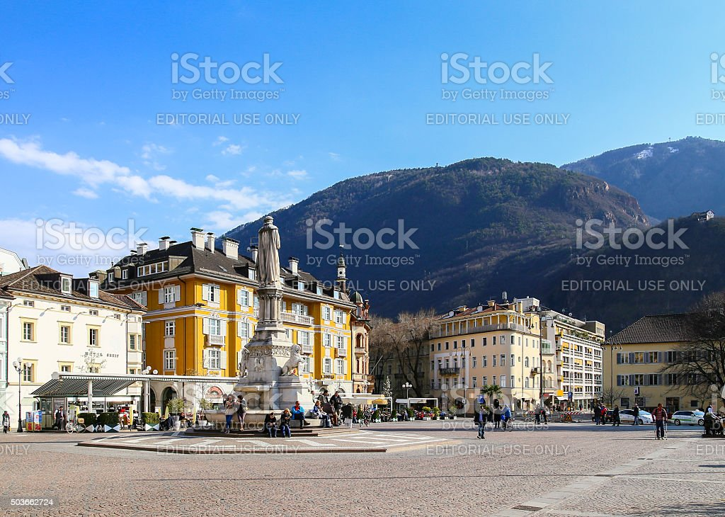 Walther Square in Bolzano stock photo