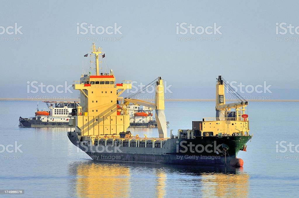 Walvis Bay Container Ship At Anchor royalty-free stock photo