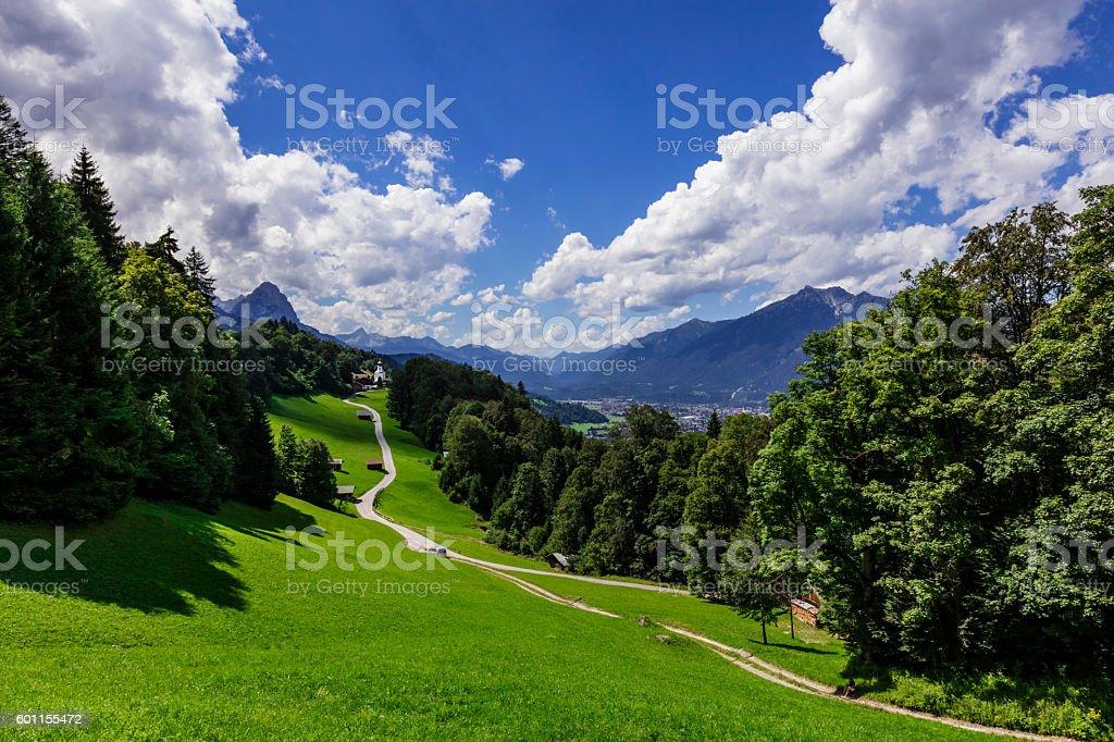 Wamberg Chapel near Garmisch Partenkirchen stock photo