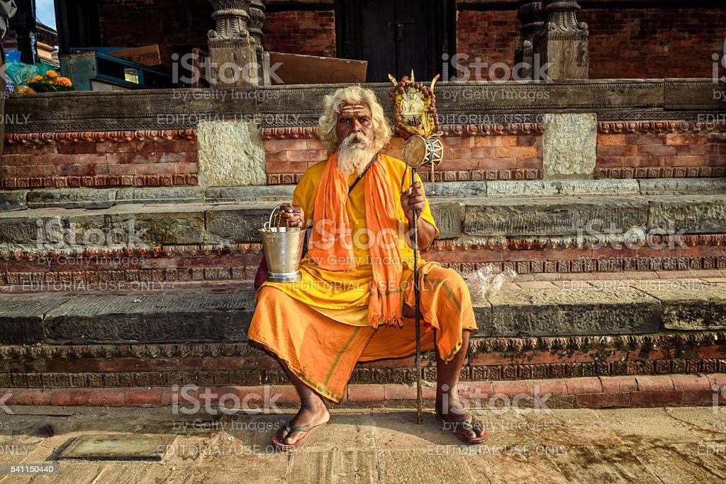 Wandering  sadhu baba (holy man) in ancient Pashupatinath Temple stock photo
