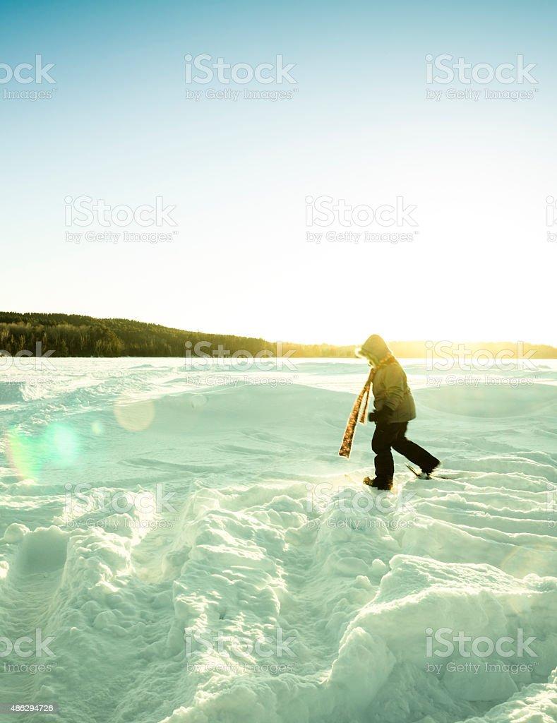 Wanderlust trekking across frozen lake stock photo
