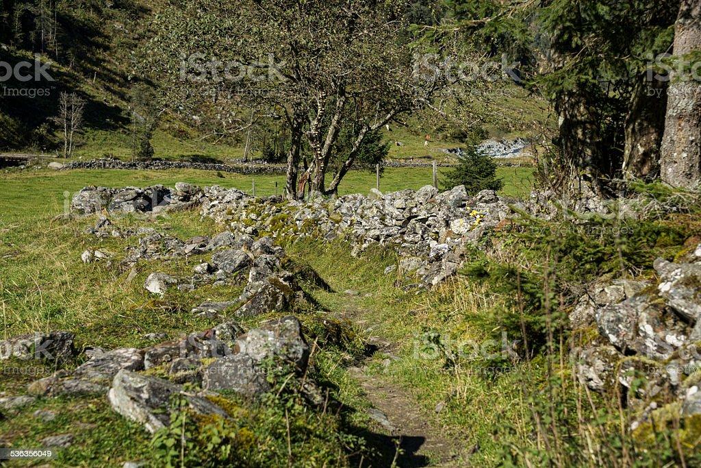 Wanderweg mit Steinmauern stock photo