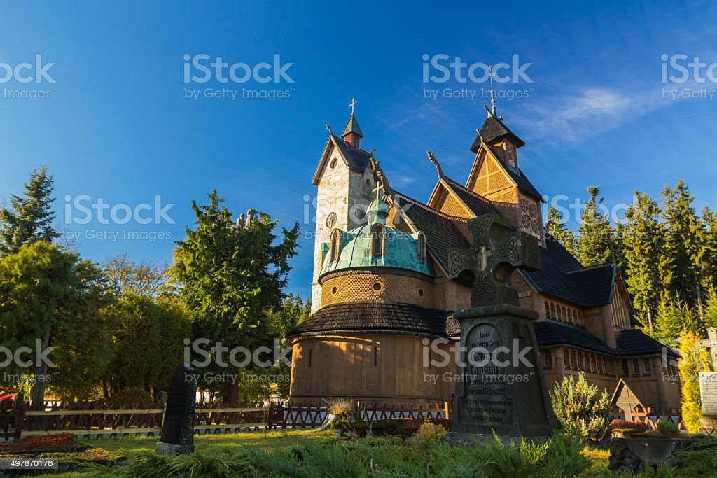 Wang church in Karpacz, Poland, View from the graveyard stock photo