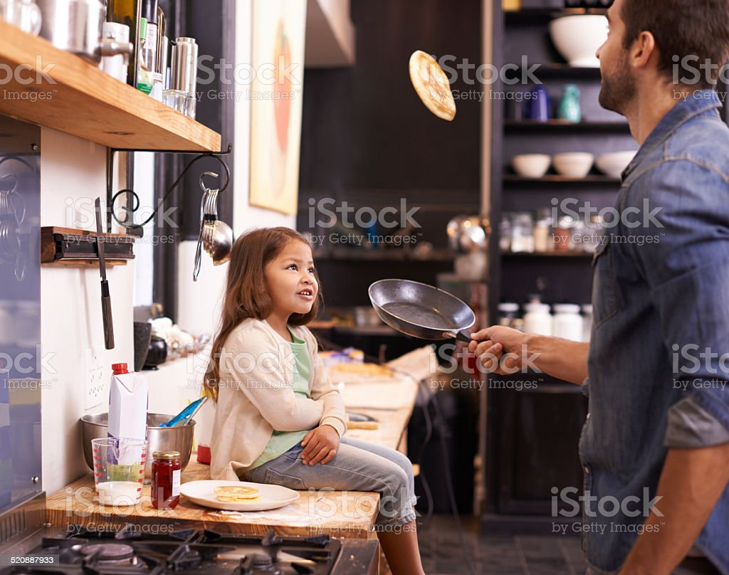 Wanna see dad do a trick? stock photo