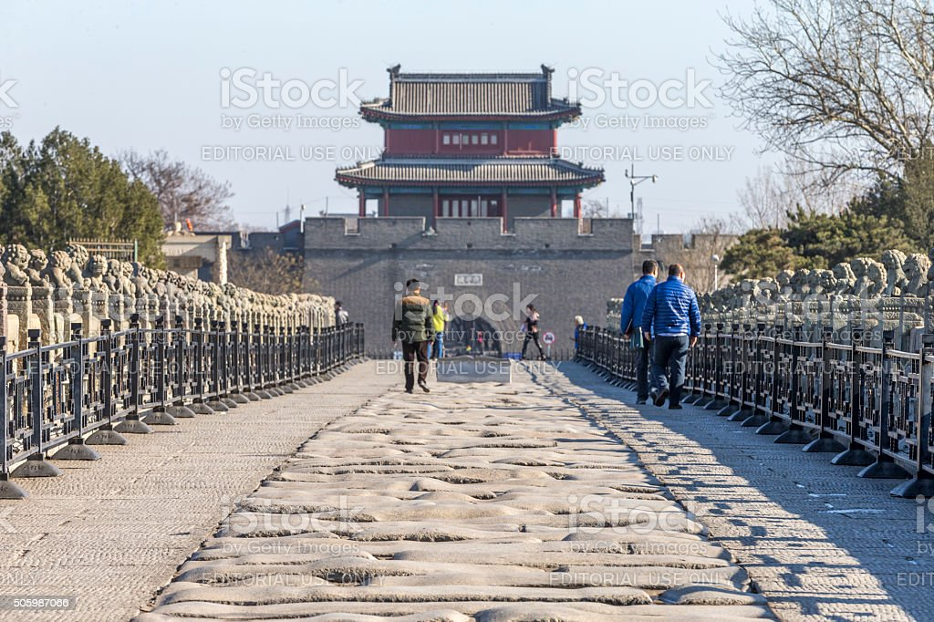 Wanping Fortress and  Marco Polo Bridge, Beijing, China stock photo