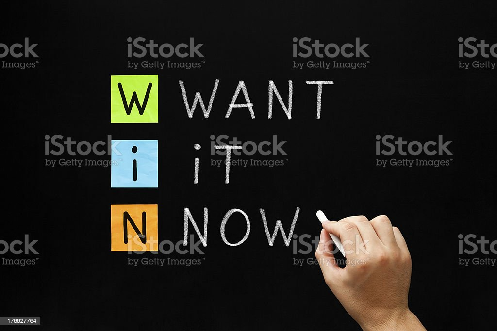 WIN - Want It Now stock photo