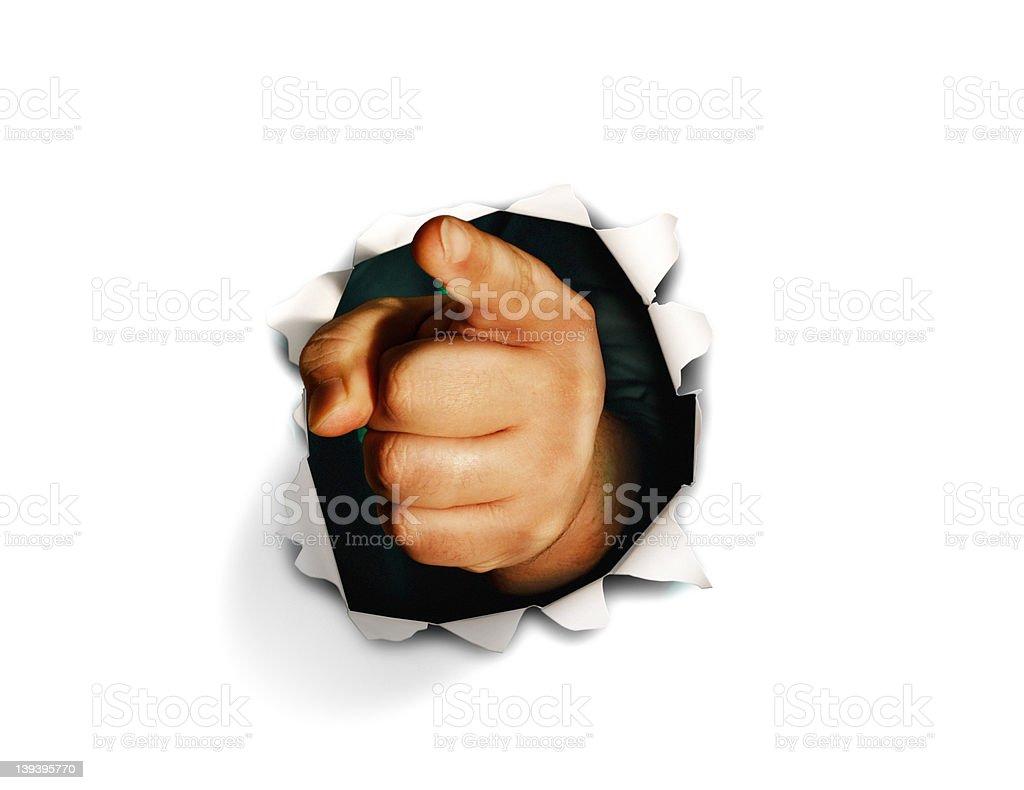I Want You Finger on White Background stock photo