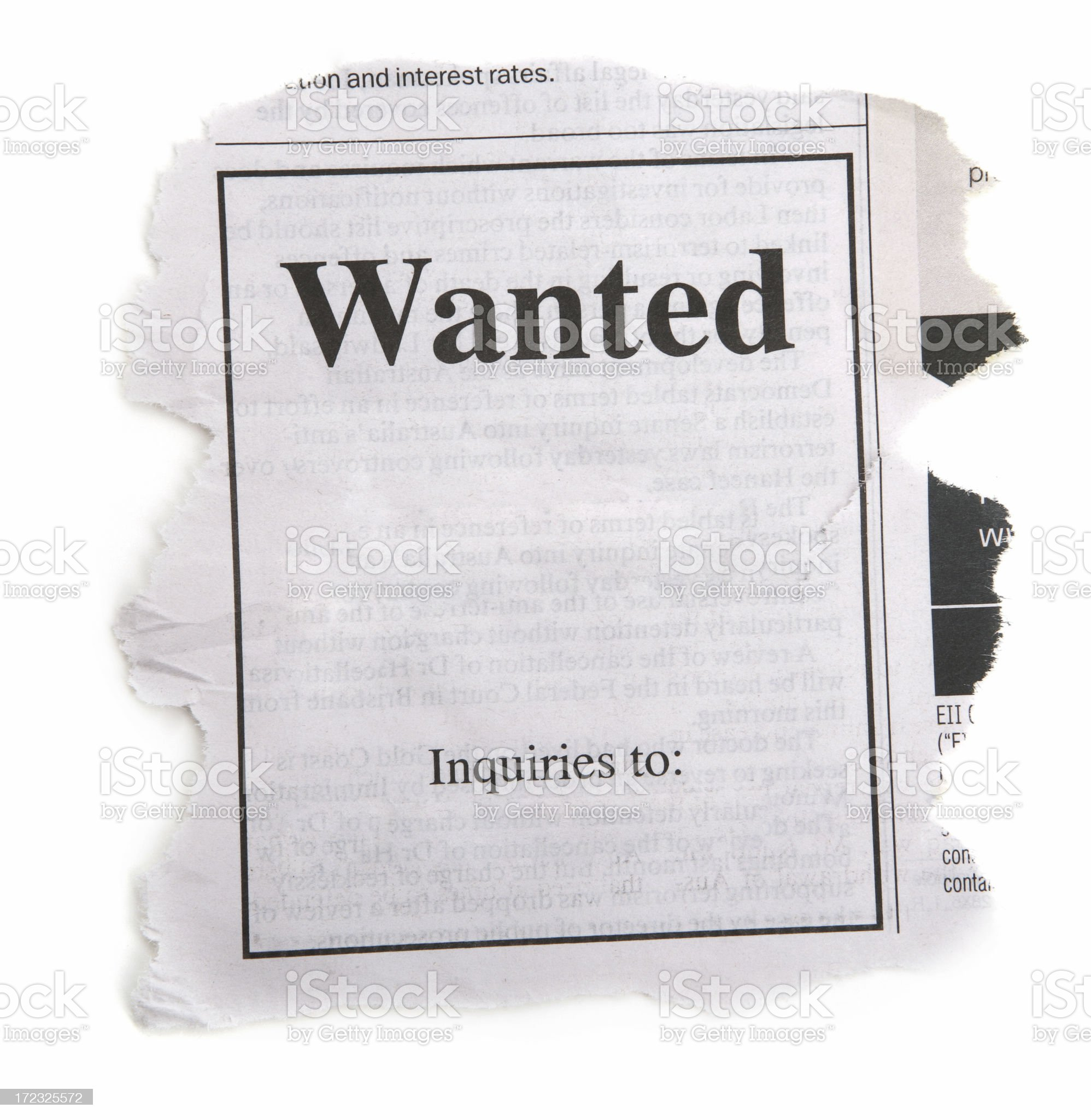 Wanted Ad from Newspaper royalty-free stock photo
