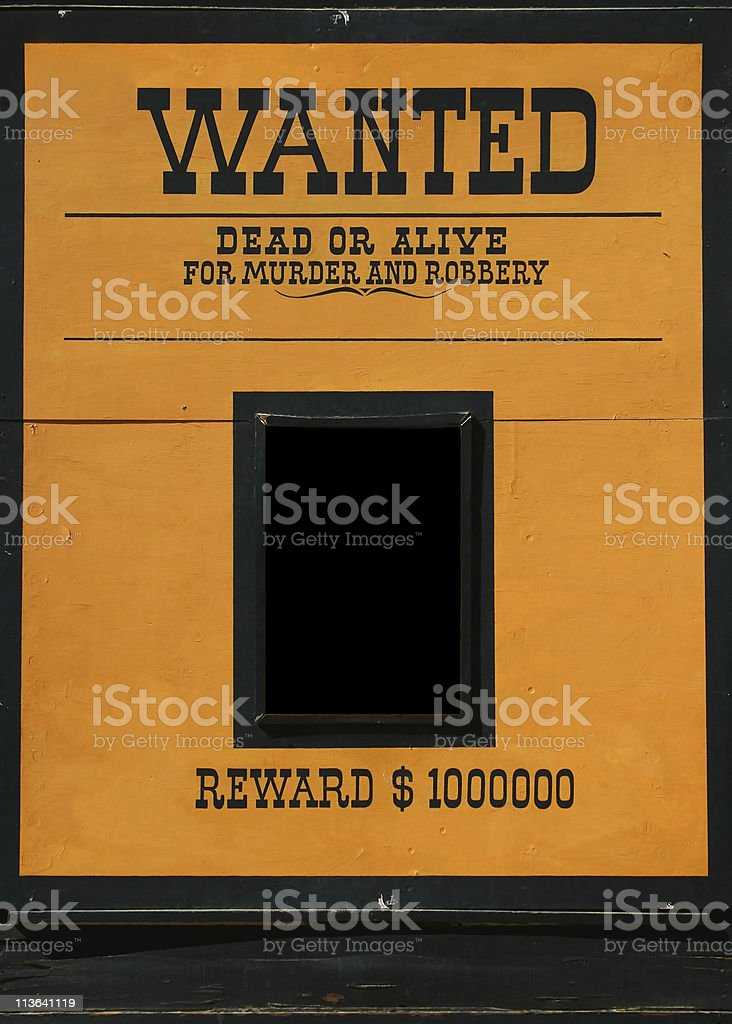 Wanted dead or alive poster stock photo