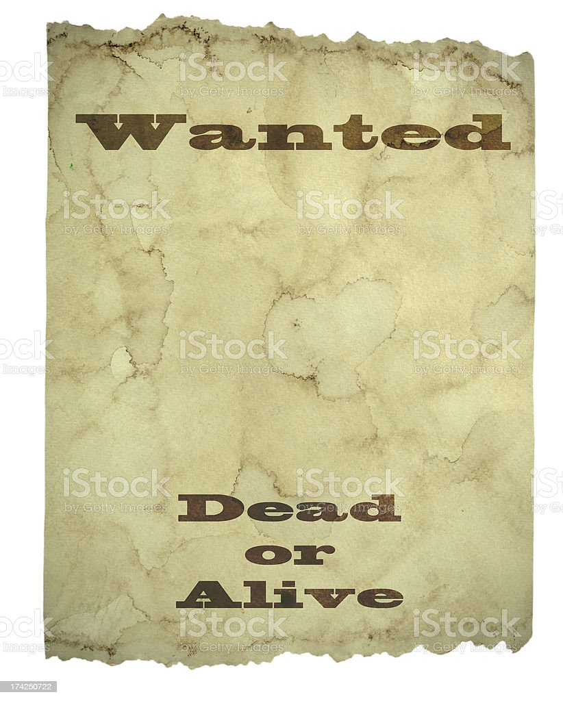 Wanted Dead or Alive Poster royalty-free stock photo