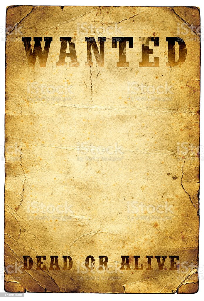 Wanted Dead or Alive Poster Wild West stock photo