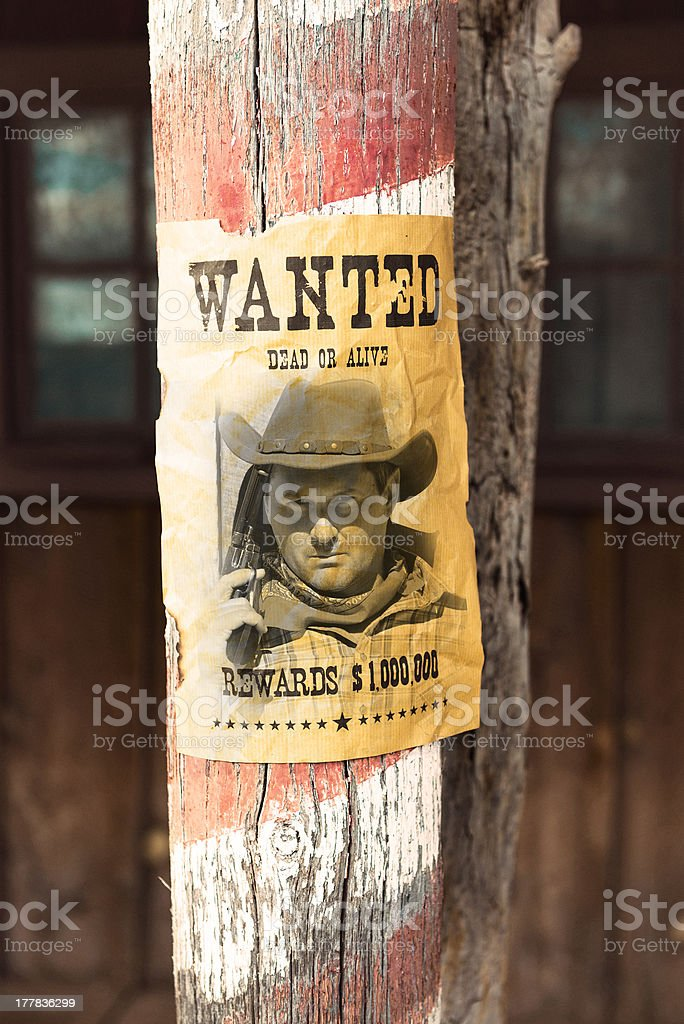 wanted far west royalty-free stock photo