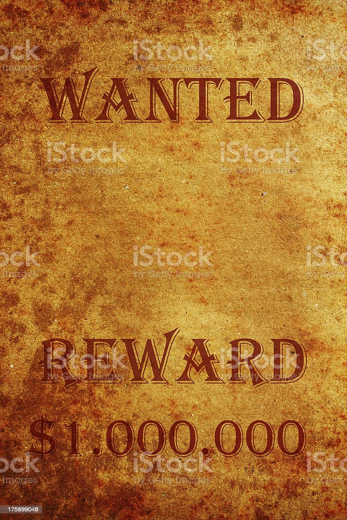 Wanted grunge paper royalty-free stock photo