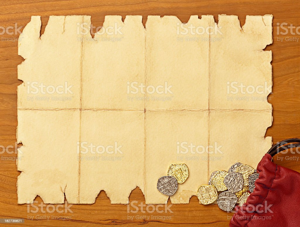 Wanted Poster. Blank Paper and Coins with Copy Space. royalty-free stock photo